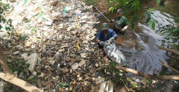 Obreros de la Alcaldía sacan las botellas del arroyo Los Sauces