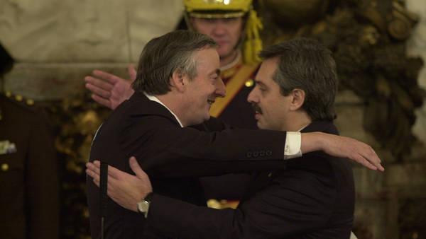 Néstor Kirchner y Alberto Fernández, en las primeras horas de la jura presidencial.