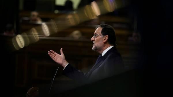 Discurso. El presidente español, Mariano Rajoy, hoy, al dar su mensaje al Congreso durante la votación (Reuters).