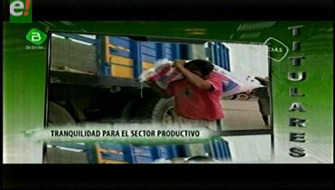 Titulares de TV: IBCE. Tranquilidad en el sector productivo tras confirmarse que no habrá segundo aguinaldo