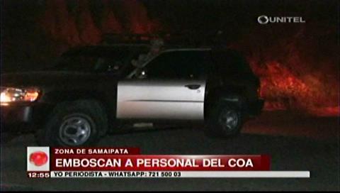Samaipata: Emboscan a personal del COA tras decomisar vehículos
