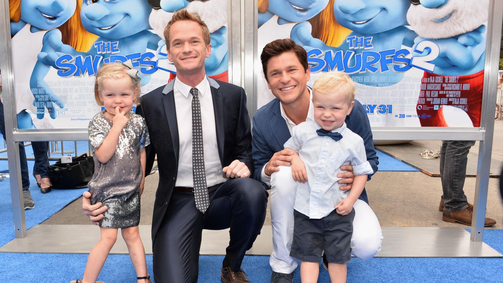 Neil Patrick Harris, con su marido y sus hijos.
