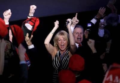 La euforia se apoderó del bunker de Donald Trump en Nueva York a medida que el conteo de votos daba la sorpresa. (REUTERS/Mike Segar)