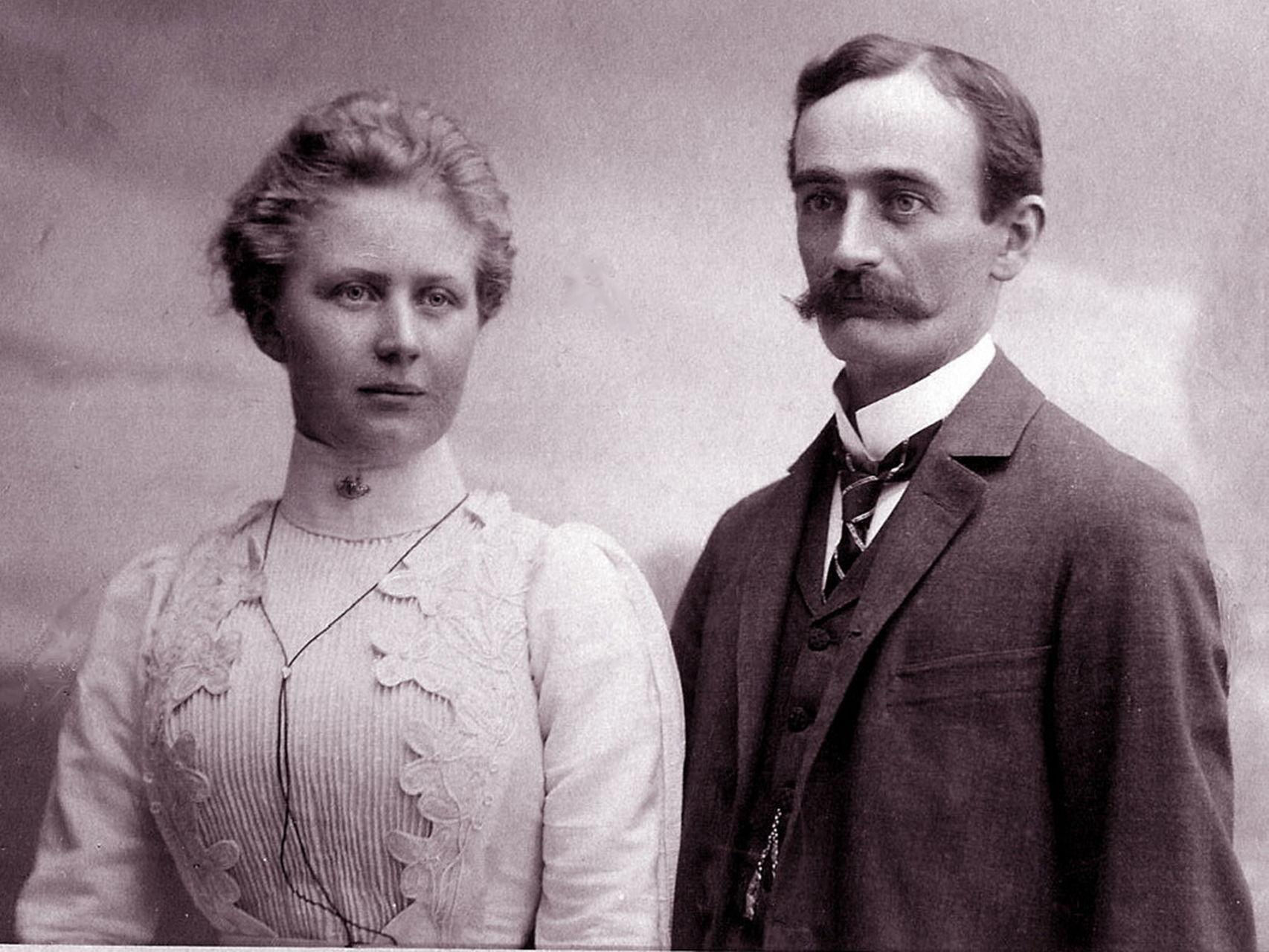 Elizabeth Christ y Friedrich Trump, os abuelos paternos de Donald Trump, en 1918.