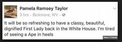 El mensaje de Pamela Ramsey Taylor en Facebook. / Facebook