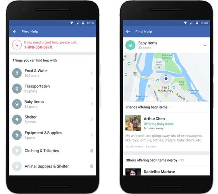 Facebook Safety Check y Community Help