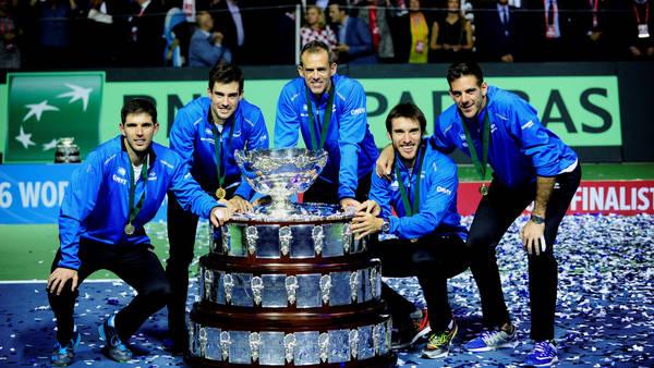 El equipo argentino campeón de la Copa Davis en Zagreb, Croacia. (Germán García Adrasti)