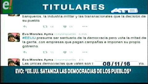Titulares de TV: Evo dice que EEUU valida democracias criminales y sataniza las forjadas por los pueblos