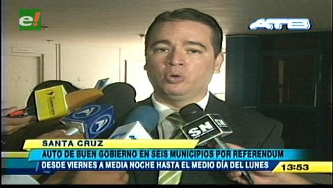 Gobernación de Santa Cruz dictó auto de buen gobierno en 6 municipios