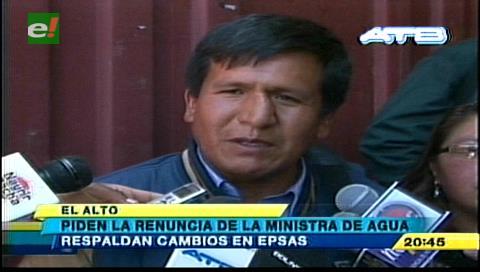 El Alto: Fejuve pide renuncia de Ministra de Agua