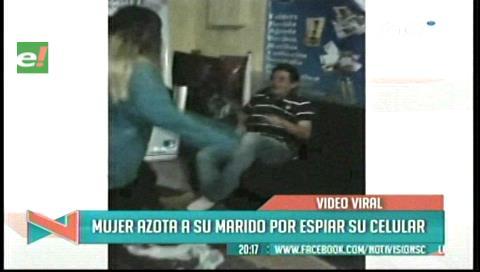 Video viral: Mujer golpea a su marido por revisar su celular