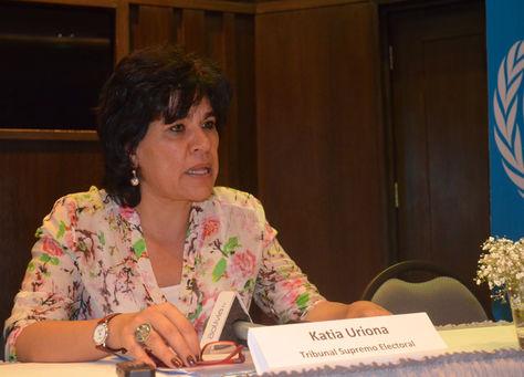 La presidenta del Tribunal Supremo Electoral, Katia Uriona. Foto: TSE
