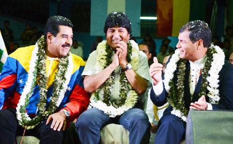 Los mandatarios Nicolás Maduro, Evo Morales y Rafael Correa