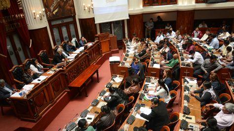 El canciller David Choquehuanca durante su interpelación ante la Asamblea. Foto: APG
