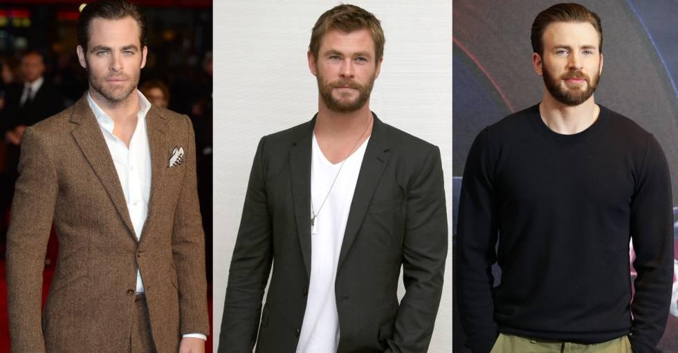 De izquierda a derecha: Chris Pine, Hemsworth y Evans.