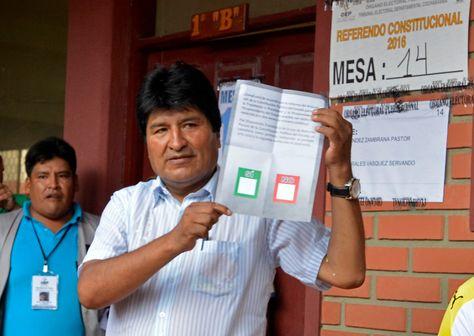 El presidente Evo Morales en el referéndum constitucional del 21 de febrero de 2016.