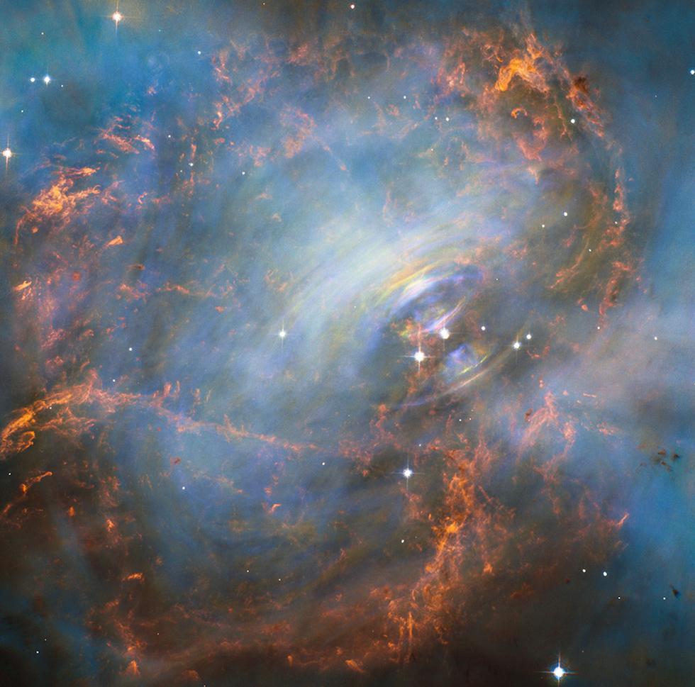 Una nueva imagen de la Nebulosa del Cangrejo, a 6500 años luz de la tierra y visible en la constelación de Toro (Hubble, NASA/ESA)