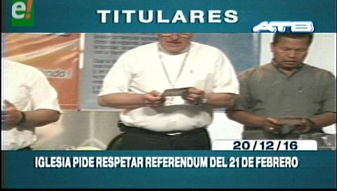 Titulares de TV: Iglesia Católica  pide respetar la CPE