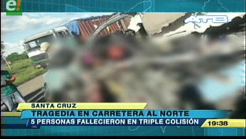 5 personas fallecieron en triple colisión en la carretera al norte