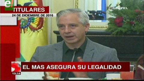 Titulares de TV: Repostulación.Vicepresidente asegura que las 4 vías planteadas por el MAS son legales y constitucionales