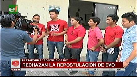 """Plataforma """"Bolivia dice No"""" se moviliza contra la repostulación de Morales"""
