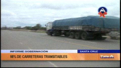 Gobernación cruceña reporta buen estado de caminos
