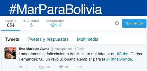 El tuit que publicó el presidente Evo Morales tras la muerte del ministro cubano Carlos Fernández Godín.