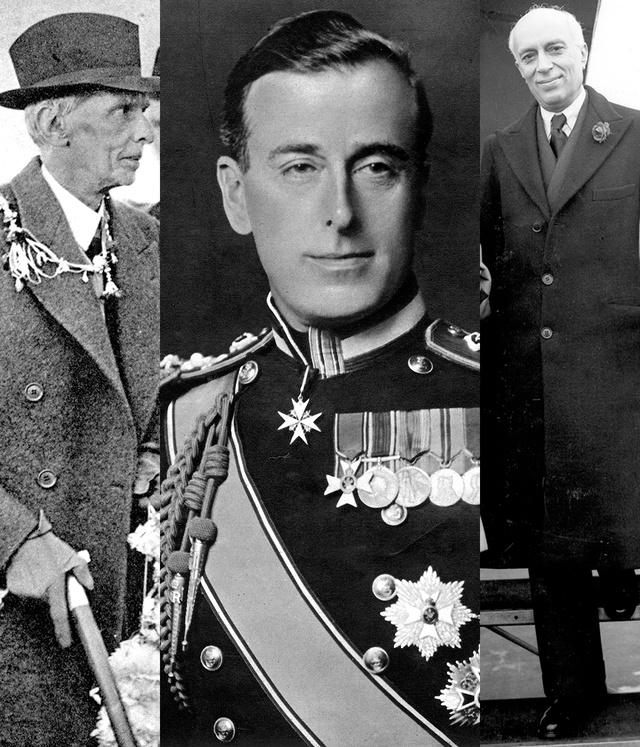 Muhammad Ali Jinnah, Lord Mountbatten, tío del actual duque de Edimburgo, y Jawaharlal Nehru.