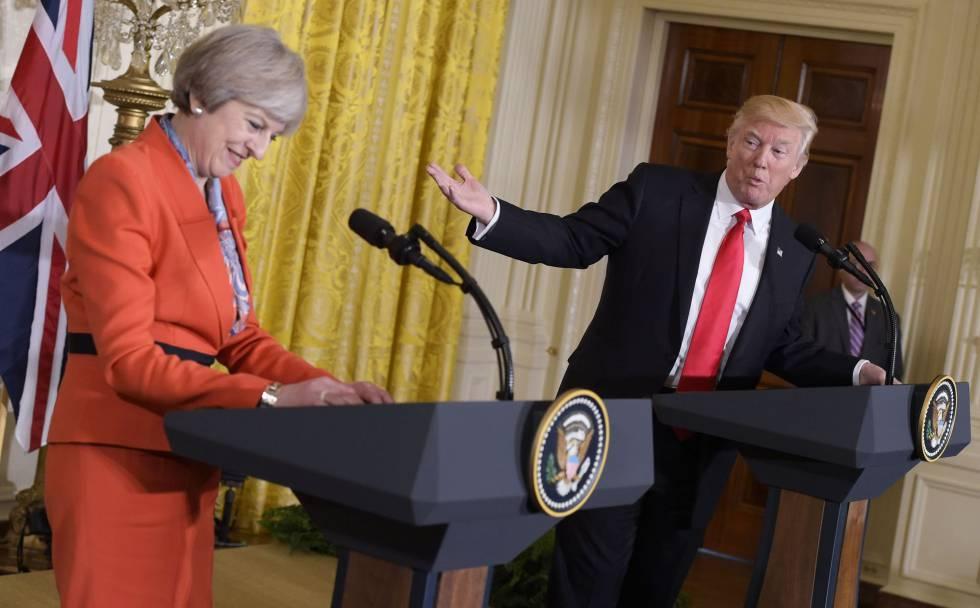 El presidente Trump y la primera ministra May durante la rueda de prensa.