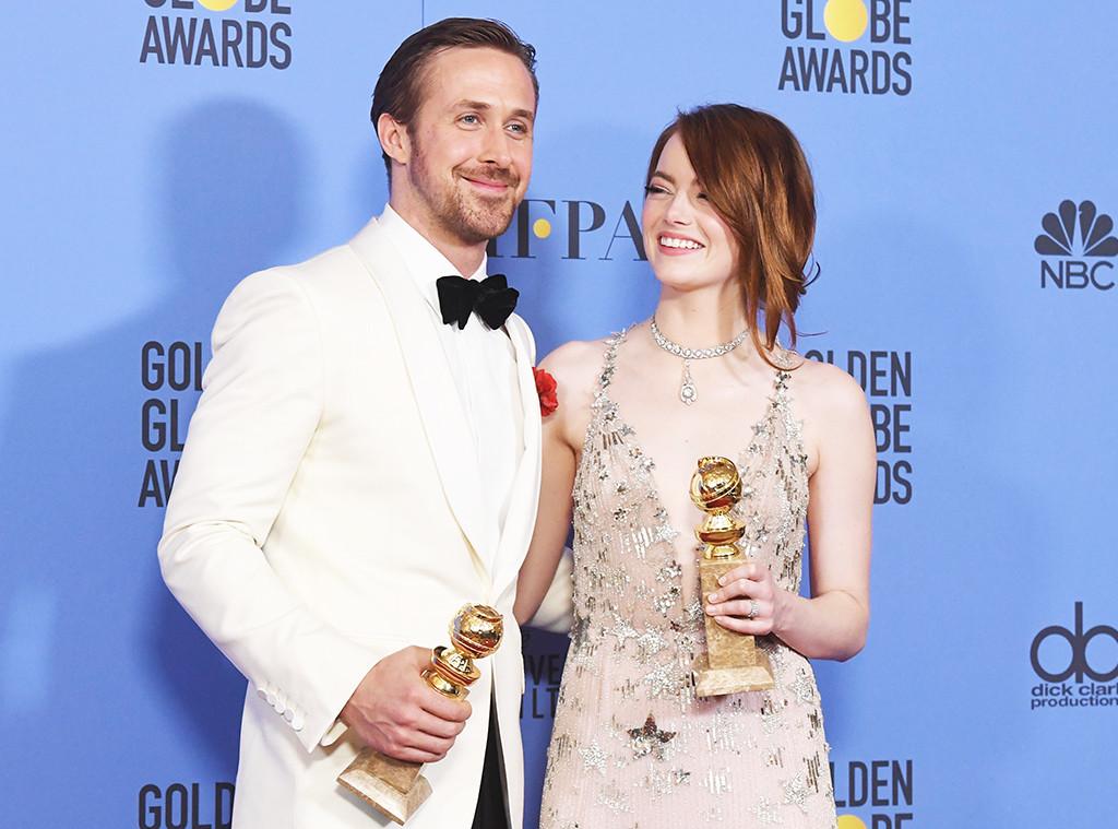Ryan Gosling, Emma Stone, 2017 Golden Globe Awards, Press Room