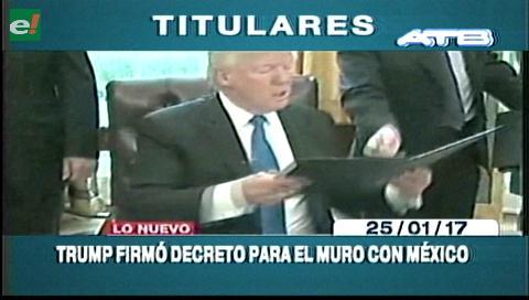 Video titulares de noticias de TV – Bolivia, noche del miércoles  25 de enero de 2017
