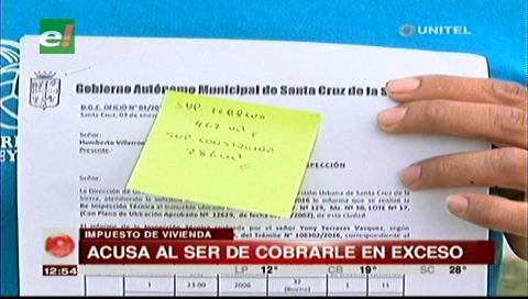 Santa Cruz: Ciudadano denuncia incremento de un 300% en el impuesto a su vivienda