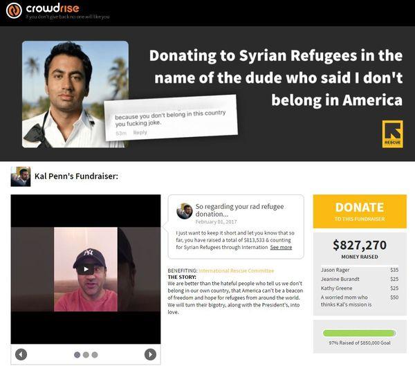 La página que creó Penn para reunir fondos para los refugiados sirios logró recaudar más de 800 mil dólares. Él solo esperaba juntar 2.500