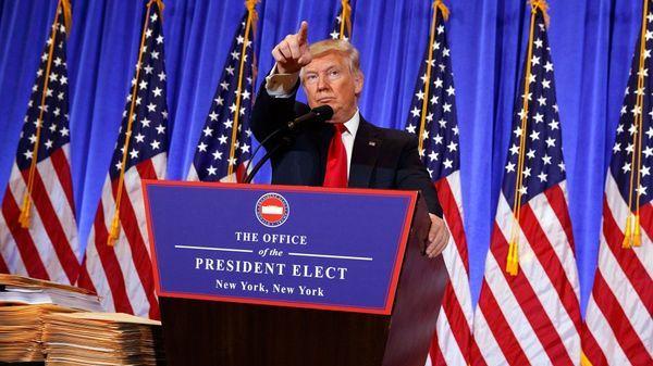 El presidente electo Donald Trump, durante la conferencia de prensa de este miércoles (AP)