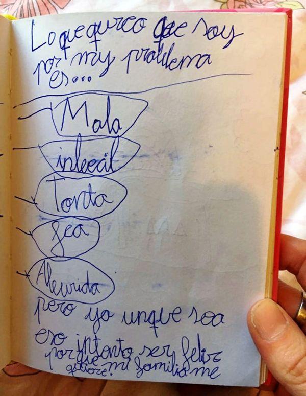 Esta lista la escribió la pequeña víctima de bullying. Así se sentía por todo el acoso que sufría