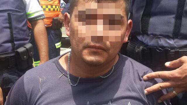 """""""El chino"""", tras ser detenido, ayer al mediodía, en Río Segundo por la policía de Córdoba"""