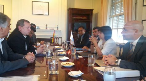 La reunión que sostuvo la delegación boliviana con la ministra Bullrich, en Buenos Aires, Argentina. Fue este martes.