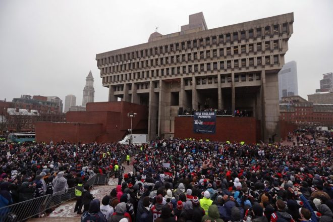New England Patriots fans gather at city hall plaza for today