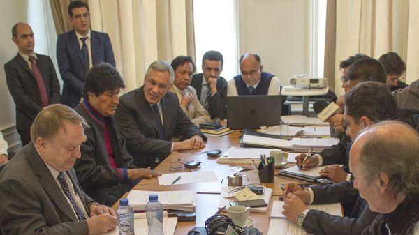 Evo Morales en una reunión celebrada en La Haya