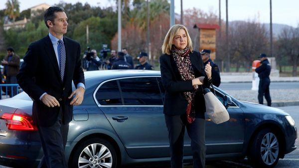 La infanta y su marido al llegar al tribunal (Reuters)