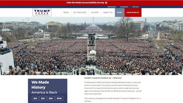 DonaldJTrump.com es su primer dominio web, comprado en 1997, y actualmente es la página oficial de su campaña y administración