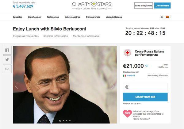 La subasta publicada en Charity Stars