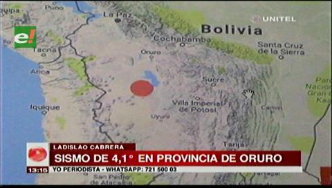 Oruro: Se registró un sismo de 4.1° en la provincia Ladislao Cabrera