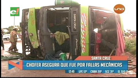 Accidente en ruta a Cotoca: Bus realiza maniobra brusca y provoca dos muertos
