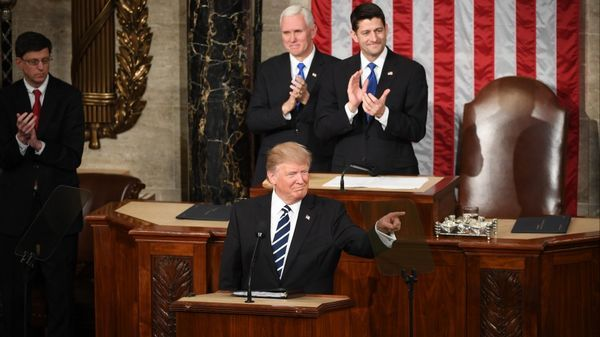 President Donald Trump gestures during his first address before a joint session of Congress. Must credit: Washington Post photo by Jonathan Newton