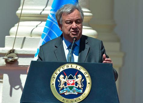 Antonio Guterres habla durante la conferencia de prensa en la Casa Estatal en Nairobi. Foto: AFP