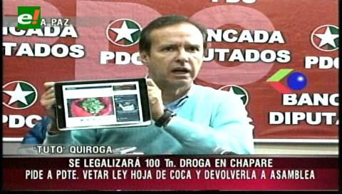 Tuto pide a Evo vetar la ley de la coca y devolverla a la ALP