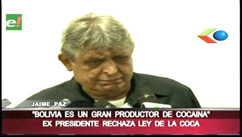 """Paz Zamora: """"Bolivia es un gran productor de cocaína"""""""