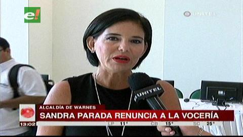 Sandra Parada aclara que renunció a la Alcaldía de Warnes por motivos personales