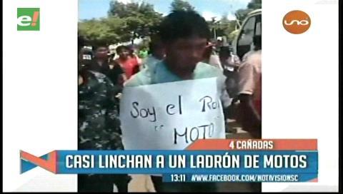 """Presunto ladrón es obligado a recorrer las calles con un letrero """"soy el roba motos"""""""